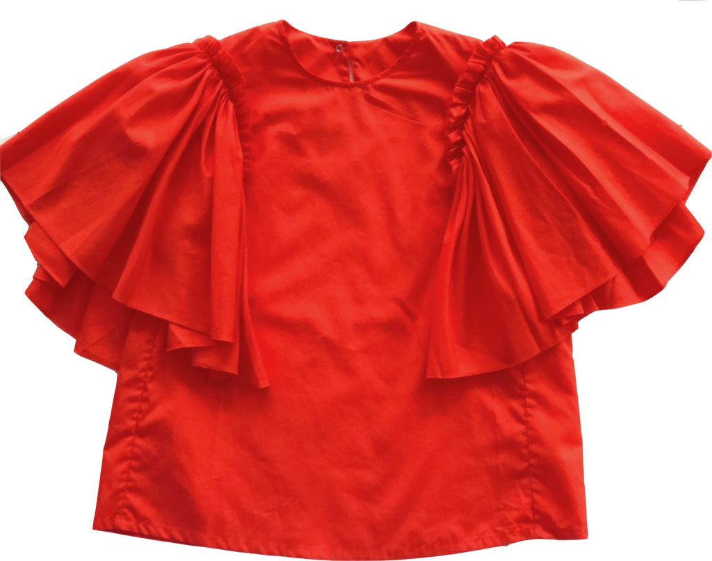 JNBY Ruffle Sleeve Top Coral Top JNBY
