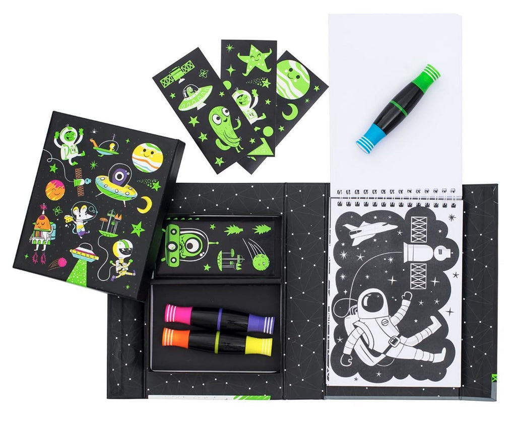 NEON OUTER SPACE COLOURING SET Arts & Crafts Swoop Is Fun