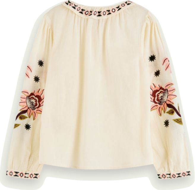 Scotch R' Belle Embroidered Long Sleeve Boho Top Tops Scotch R' Belle