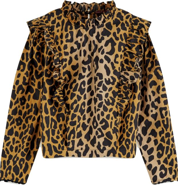 Scotch R' Belle Girls Long Sleeve Leopard Print Blouse Tops Scotch R' Belle
