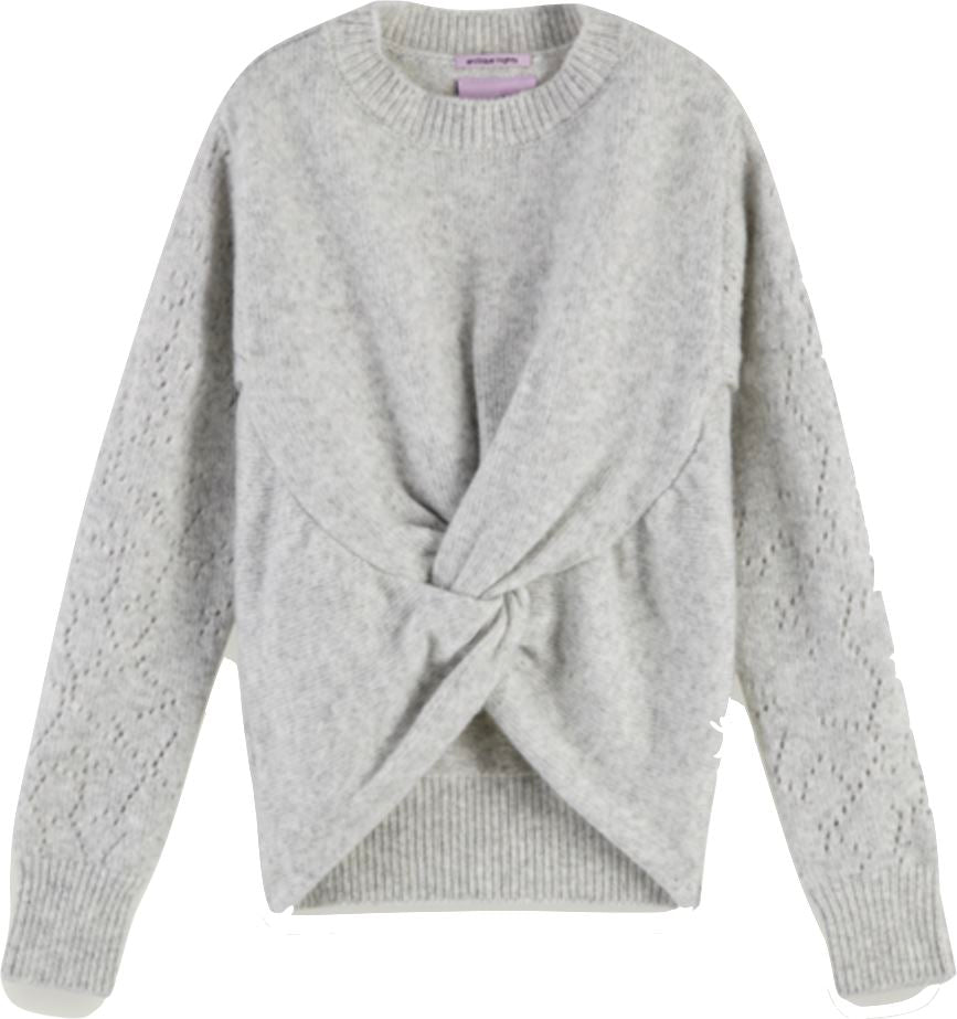 Scotch R' Belle Wool Knit Wrap Over Sweater Grey sweater Scotch R' Belle