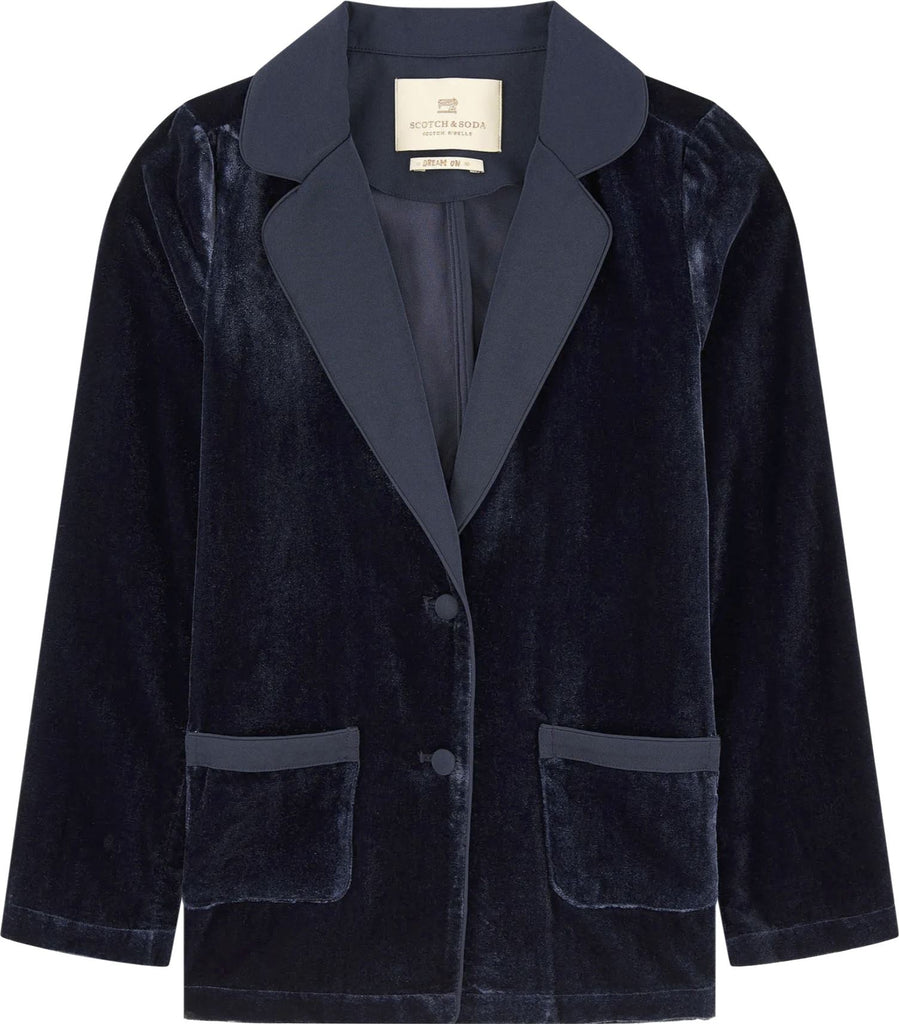 SCOTCH R'BELLE NAVY VELVET BLAZER Jackets & Coats Scotch R'Belle