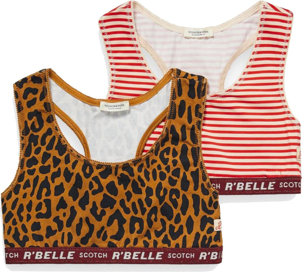 Scotch R' Belle Duo Pack Bralets Leopard/Stripe undergarment Scotch Shrunk