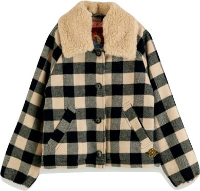Scotch Shrunk Girls Checked Coat Jackets & Coats Scotch Shrunk