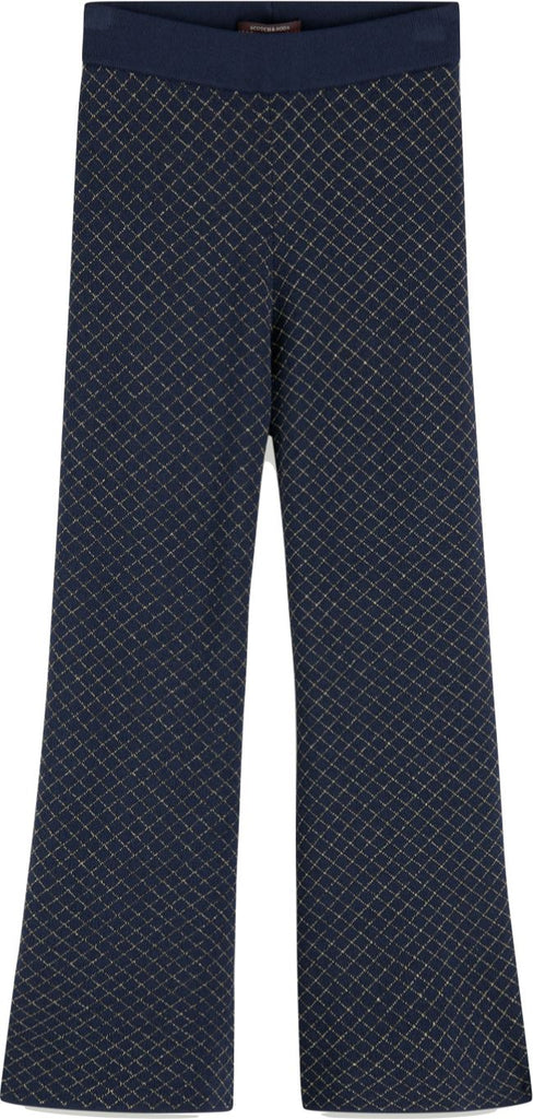 Scotch Shrunk Knitted Flare Pant with Gold Check Pants Scotch Shrunk
