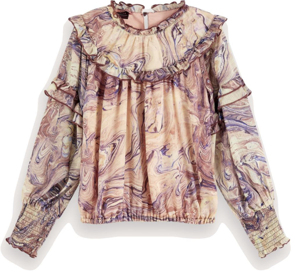 Scotch Shrunk Marble Print Ruffled Top Tops Scotch Shrunk