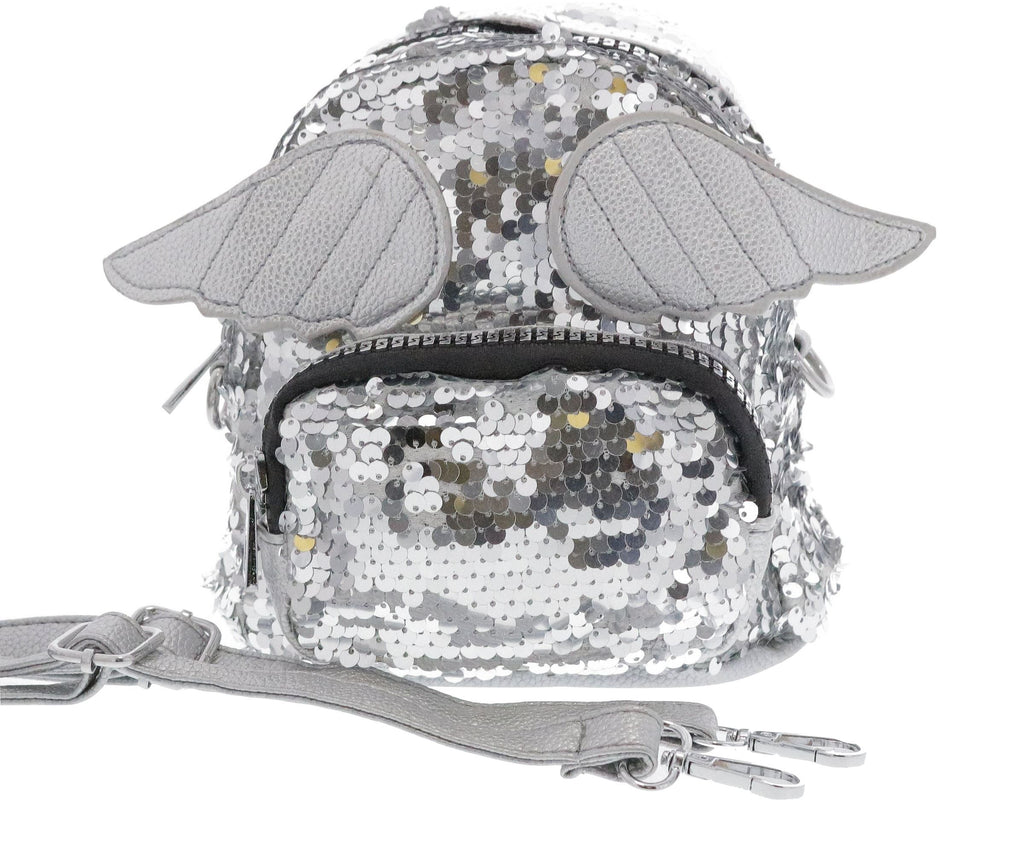 SILVER SEQUIN ANGEL WING BACKPACK Accessories Swoop