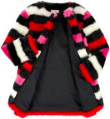 Sonia Rykiel Irene Faux Fur Striped Coat Jackets & Coats Sonia Rykiel