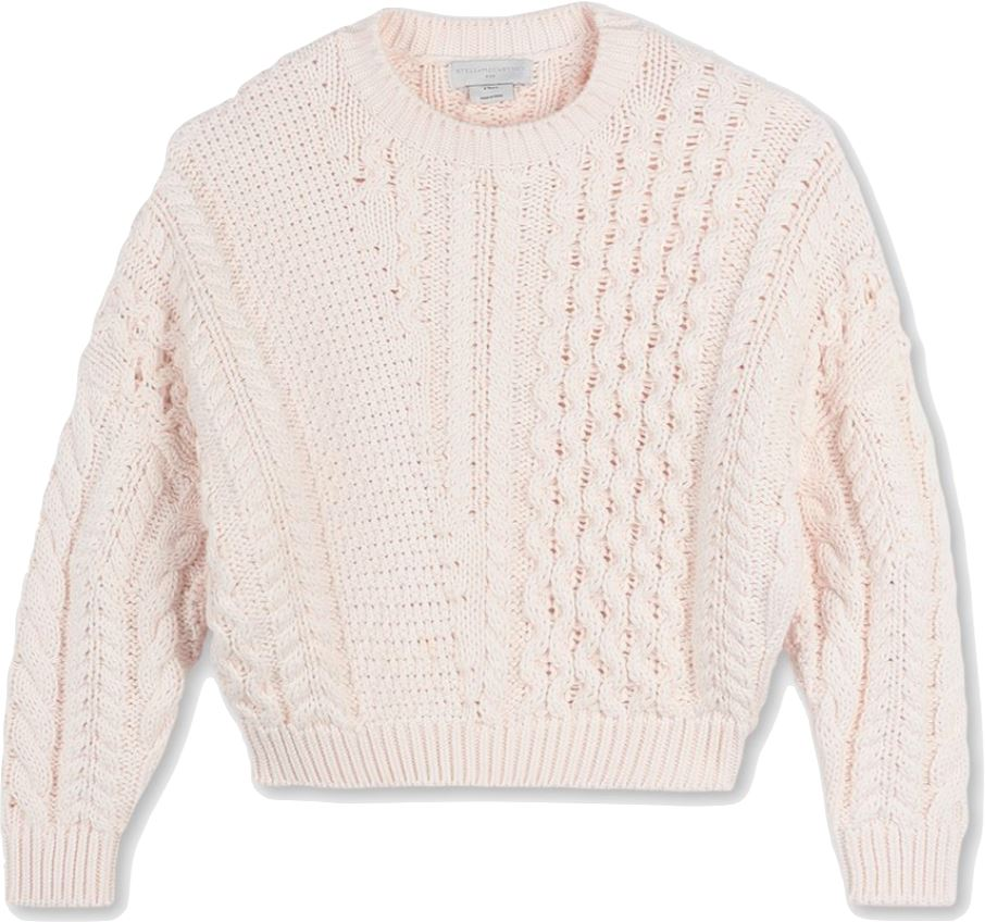 Stella McCartney Pale Pink Cable Knit Sweater sweater Stella McCartney Kids