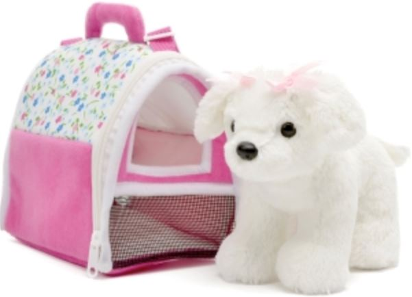 White Maltese in Pink Carrier Toys Unipak