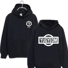 GOT7  Black red fleece hooded Sweatshirts Spring
