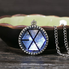 EXO Star Glass Necklaces Jewelry Fashion Silver Plated Chain Necklaces