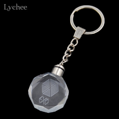 EXO Colourful LED Light Key Chain Key Ring Fans Support Jewelry