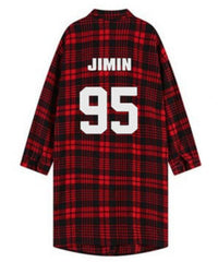 EXO Red Plaid Long-Sleeved Youth