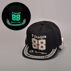 BIGBANG Fluorescent Luminous Hat Black Cap  &  EXO brimmed hat baseball