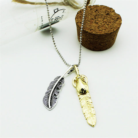 BTS  Feathers Pendant Steel Necklace Jewelry Kolye Collier