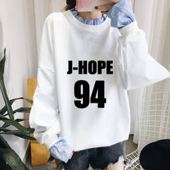 BTS  Splice Pullover Sweatershirt Fake Two Piece Students Hoodie