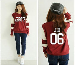 GOT7  Donut Letters Casual Round Neck Printed Sweatshirt