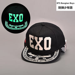EXO Summer Fluorescent Luminous Hip Hop Flat Along The Street Baseball