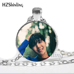 BTS Necklace Glass Cabochon Photo Necklaces Round Handmade Jewelry