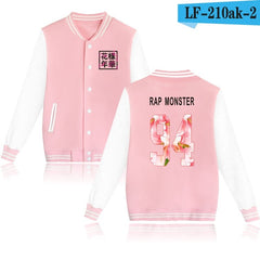 BTS Baseball Jacket  Spring  Long Sleeve Black And White Fashion