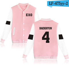 EXO Baseball Jacket Hoodies Women Winter Korean Popular Pop Fashion