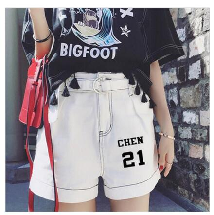 EXO New Korean Version Fashion Belt Wide Leg Shorts Hot Pants