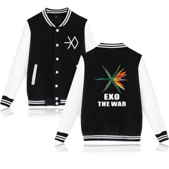 EXO  WAR Baseball Jacket Hoodies Sweatshirt men Fans Casual Jacket