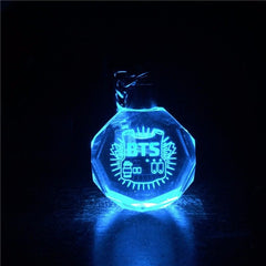 BTS  LED Crystal Glass Flashing Keychains