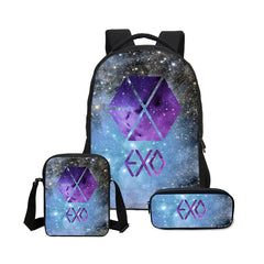 EXO 3 Pcs/Set School Bags EXO Printing Backpack Children Shoulder Bag Fashion