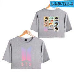 BTS Midriff Tops Short Sleeve T-shirt