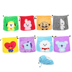 BTS bt21 Cartoon Q back Plush Drawstring Storage Bag
