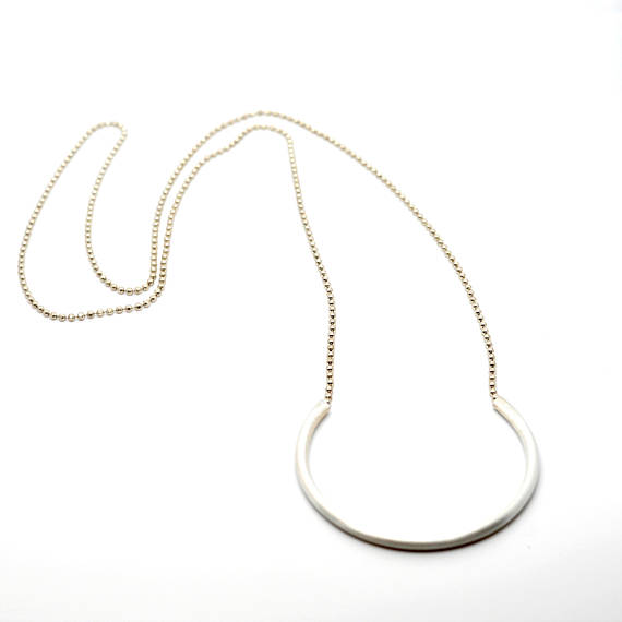 Long Tube Necklace - Silver