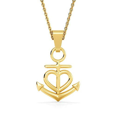 "He That Follows Righteousness Religious Gift Proverbs 21:21 Anchor Necklace Stainless Steel 16-22"" Cable Chain"