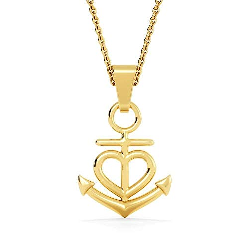 WE LOVE Anchor Pendant Stainless Steel, Mothers Day Birthday Jewelry Gift