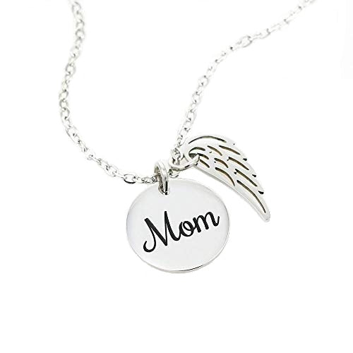 Mom Remembrance Necklace, Guardian Angel Mom White, Mother Memorial Necklace