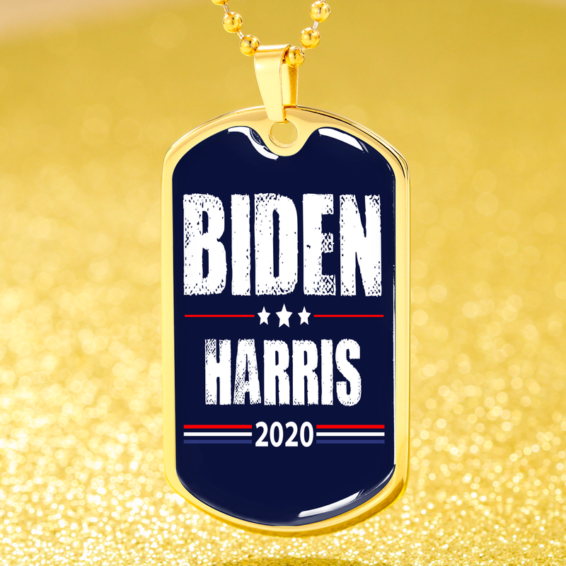 Biden Harris Necklace 2020 Dog Tag Stainless Steel or 18k Gold Finish 24