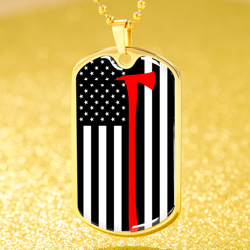 Firefighter Thin Red Line Necklace Flag  w Axe Dog Tag Stainless Steel or 18k Gold Finish 24""