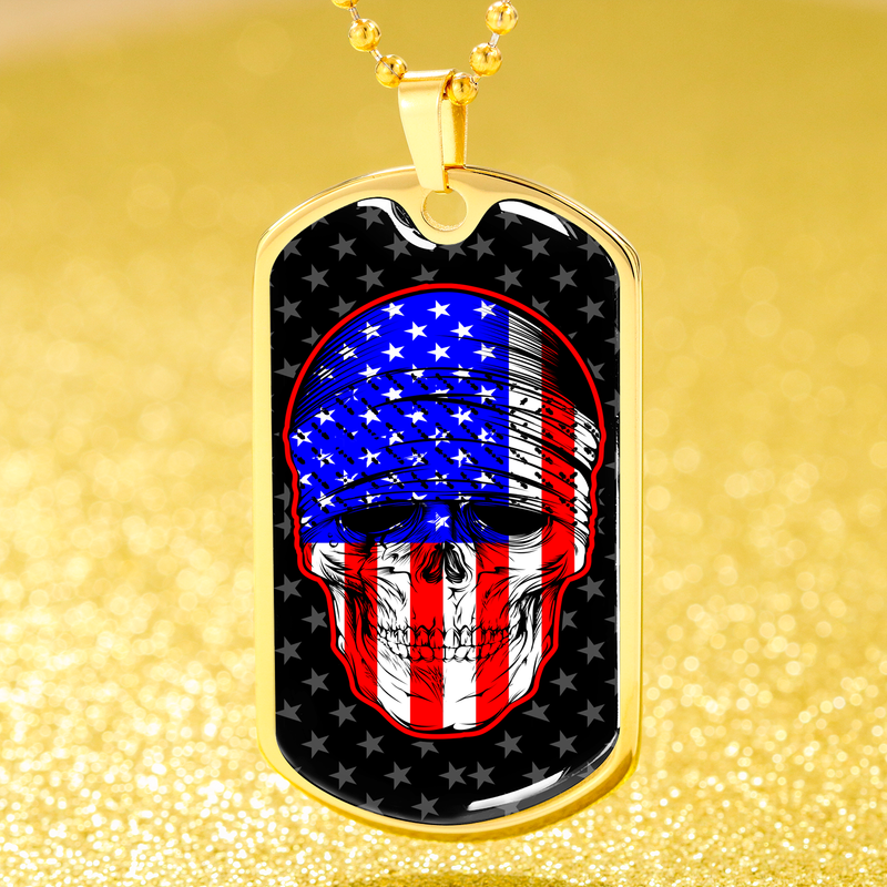 "American Flag Patriotic Skull Dog Tag Stainless Steel or 18k Gold 24"" Ball Chain"