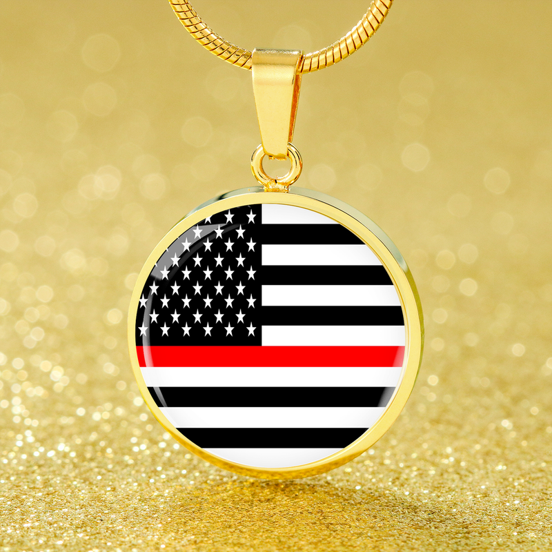 Thin Red Line American Firefighter Circle Pendant Necklace Stainless Steel or 18k Gold 18-22""