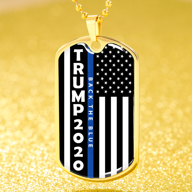 Political Jewelry Trump Back The Blue Flag Dog Tag Stainless Steel or 18k Gold Finish 24