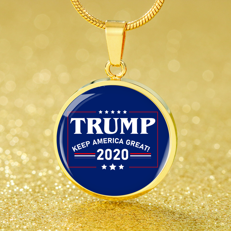 Political Jewelry Trump Keep America Great Circle Pendant Necklace Stainless Steel or 18k Gold 18-22