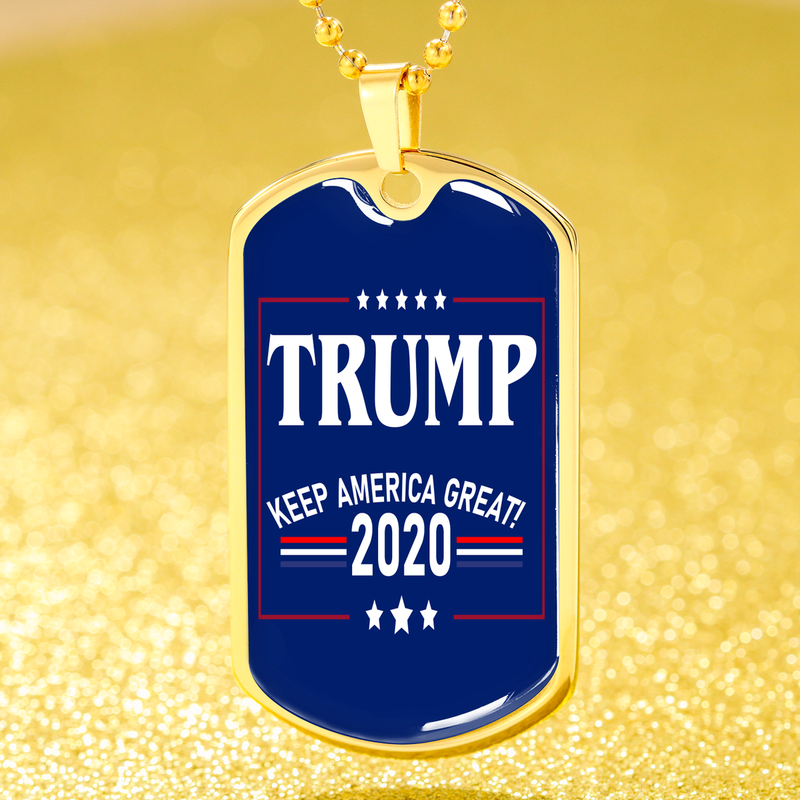 Political Jewelry Trump Keep America Great Dog Tag Stainless Steel or 18k Gold Finish 24