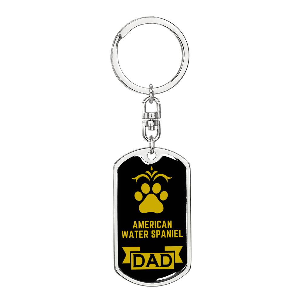 Dog Dad Gift American Water Spaniel Dog Tag Swivel Keychain Stainless Steel or 18k Gold - Express Your Love Gifts