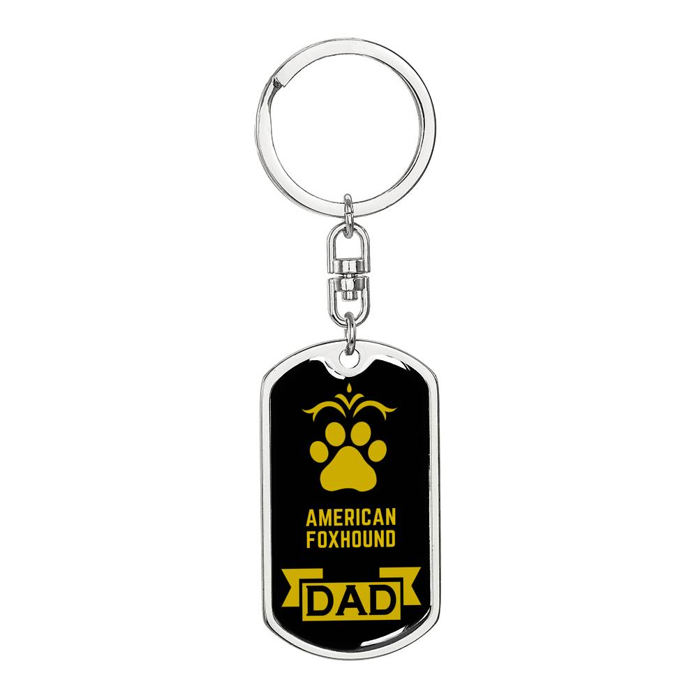 Dog Dad Gift American Foxhound Dog Tag Swivel Keychain Stainless Steel or18k Gold - Express Your Love Gifts
