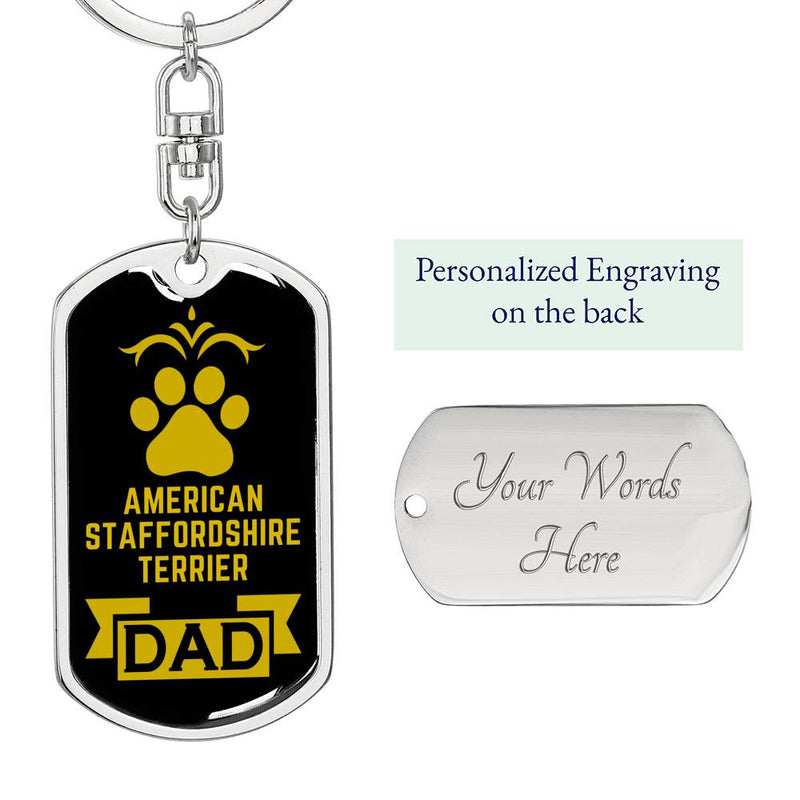 Dog Dad Gift American Staffordshire Terrier Dog Tag Swivel Keychain Stainless Steel or18k Gold - Express Your Love Gifts