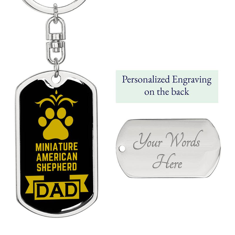Dog Dad Gift Miniature American Shepherd Swivel Keychain Stainless Steel or 18k Gold - Express Your Love Gifts