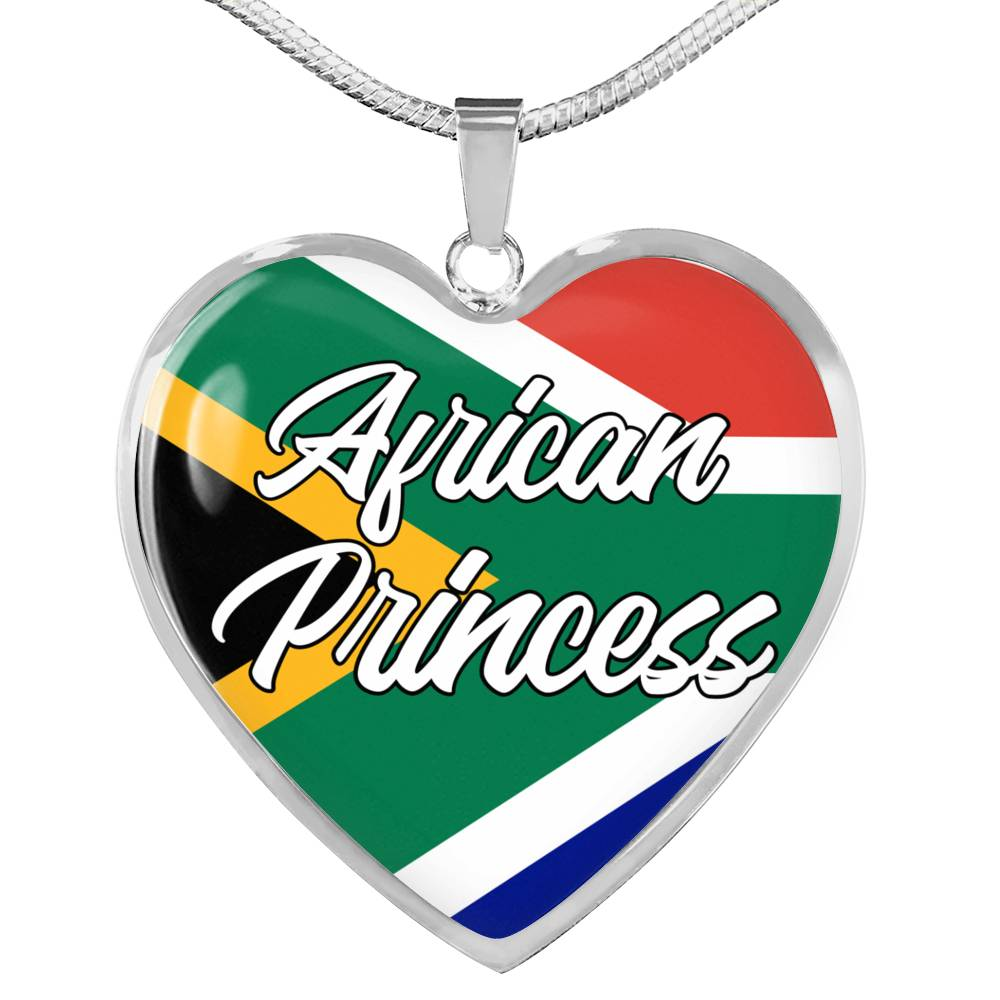 African Princess Necklace Stainless Steel or 18k Gold Heart Pendant 18-22''