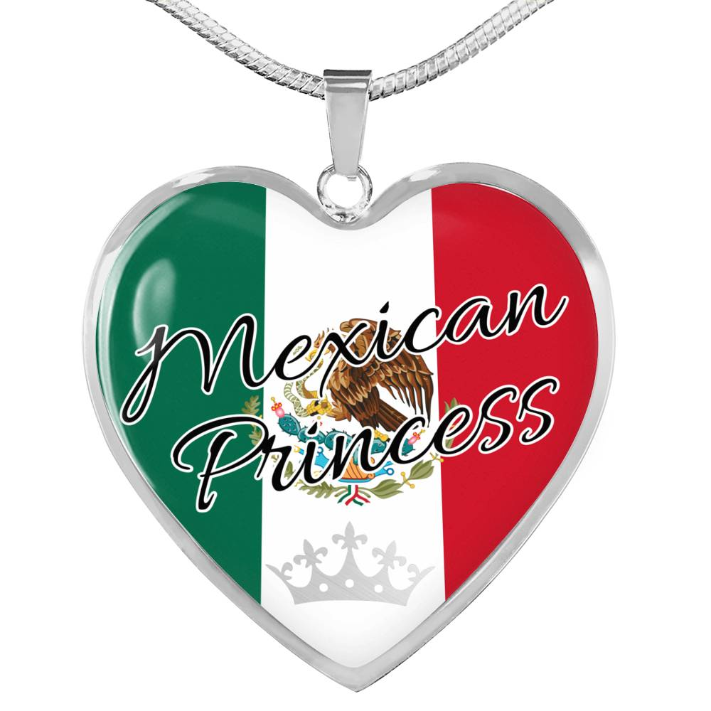 Mexican Princess Necklace Stainless Steel or 18k Gold Heart Pendant 18-22''