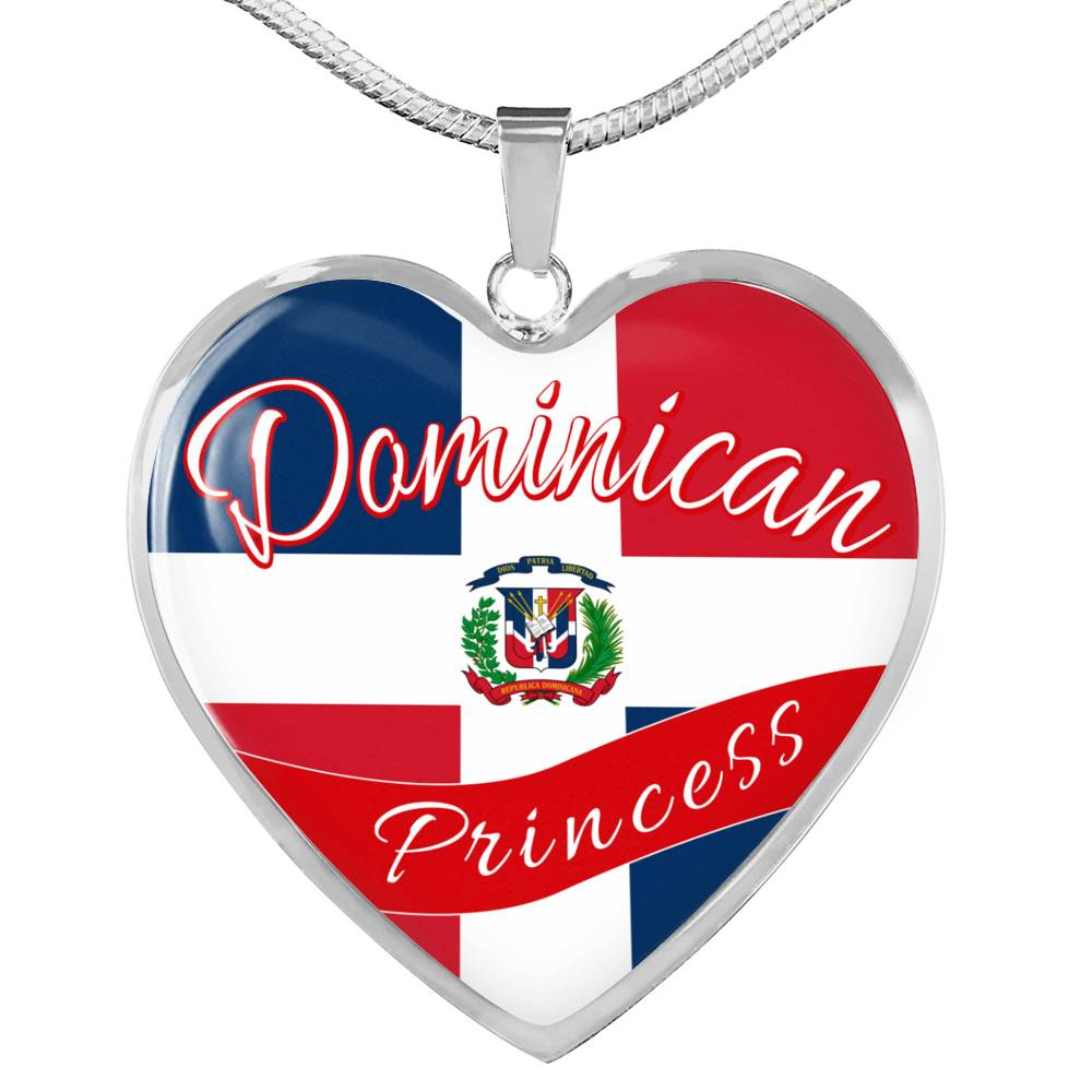 Dominican Princess Necklace Stainless Steel or 18k Gold Heart Pendant 18-22''